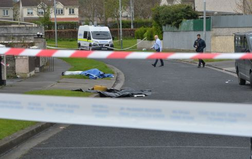 CRIME SCENE: Brookview Close, Tallaght, where a man in his 30s was killed in a hit-and-run at about 7pm on Thursday 13th April. Photograph: Alan Betson