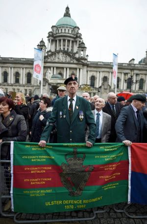 VETERANS PROTEST: Former British soldiers who served in Northern Ireland take part in a demonstration in Belfast. Photograph: Clodagh Kilcoyne/Reuters