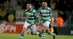 Brandon Miele  celebrates scoring for Shamrock Rovers in the SSE Airtricity League Premier Division match against Sligo Rovers at  Tallaght Stadium. Photograph: Donall Farmer/Inpho