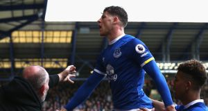 Ross Barkley of Everton celebrates after  Ben Mee of Burnley scored a own goal during the Premier League match  at Goodison Park. Photograph:  Jan Kruger/Getty Images