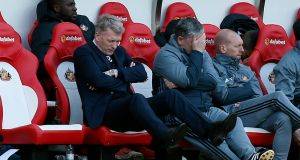Sunderland manager David Moyes reacts during his side's draw with West Ham on Saturday. Photo: Ed Sykes/Reuters