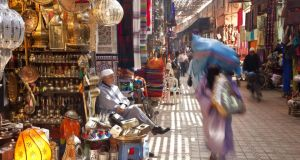 A souk in Marrakech.  Morocco has not seen the kind of political upheaval that the Arab Spring sparked in its north African neighbours. Photograph: Getty Images