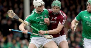 Limerick's Kyle Hayes in action against  Adrian Tuohy of Galway during the Allianz Hurling League Division 1A semi-final at the  Gaelic Grounds. Photograph: Donall Farmer/Inpho