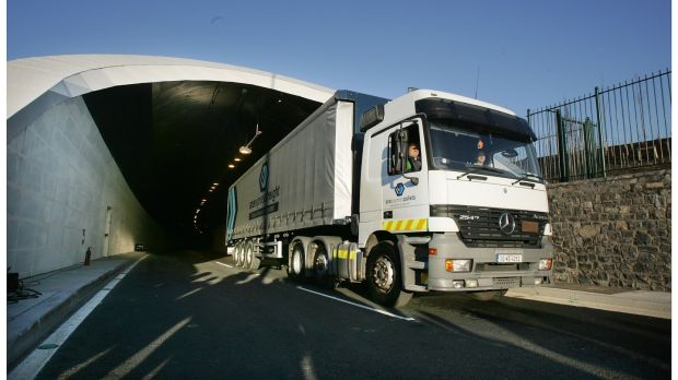 The first truck emerges from the newly opened Dublin Port Tunnel after the official opening ceremony. Photograph: Alan Betson