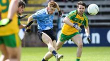 Dublin's Aaron Byrne and Donegal's Cian Mulligan in action during the All-Ireland U-21 semi-final at Breffni Park. Photograph: Philip Magowan/Presseye/Inpho