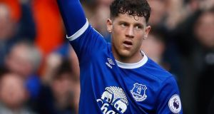 Everton's Ross Barkley celebrates  their second goal. Photograph: Jason Cairnduff/Reuters