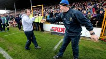 Wexford manager Davy Fitzgerald and Tipperary's Michael Ryan shake hands after the Allianz Hurling League semi-final at Nowlan Park. Photograph: Ryan Byrne/Inpho