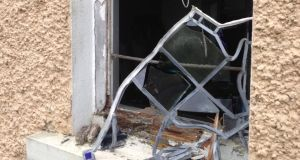 A smashed stained-glass window at St Michael's church, Shroid, Co Longford. Photograph: Sinead Hussey/RTÉ