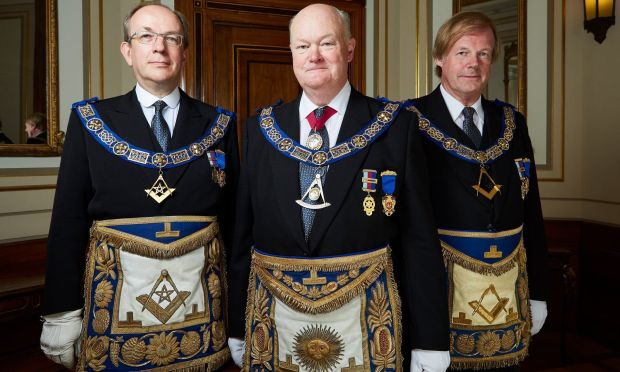 Jonathan Spence, Peter Lowndes and Sir David Wootton in Inside the Freemasons, on Sky 1. Photograph: Sky TV