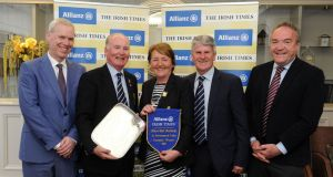 Winners Edmonstown Golf Club: Peter Kilcullen, Chief Customer Officer director Allianz, captain Tim O'Connor, lady captain Aoife Cousins, Gerry Hiney and Irish Times sports editor Malachy Logan. Photograph: Aidan Crawley