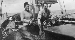 Erskine Childers (1870-1922), with his wife aboard his yacht, the Asgard, which was used to run guns for the Irish Volunteers. Photograph: Hulton Archive/Getty Images