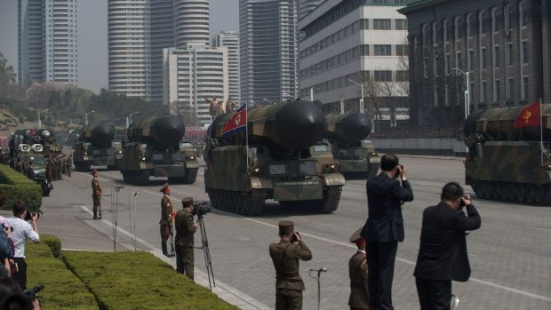 Unidentified Korean People's Army rockets displayed during Saturday's military parade in Pyongyang. Photograph: Ed Jones/AFP/Getty Images