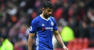 Diego Costa during the defeat to Manchester United at Old Trafford. Photograph: Getty Images