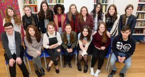 Some of the young writers whose work features in Fighting Words 2017. Photograph: Dara Mac Dónaill/The Irish Times