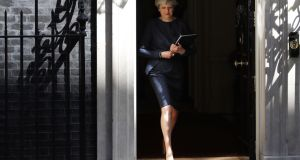 The next step: British prime minister Theresa May prepares to make her statement outside number 10 Downing Street, calling for a general election on June 8th. Photograph: Dan Kitwood/Getty Images