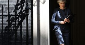 BRITISH ELECTION: British prime minister Theresa May calls a general election for June 8th next outside No 10 Downing Street in London. The last election was in 2015 with a Conservative Party majority win.  Photograph: Dan Kitwood/Getty Images