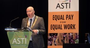 ASTI president Ed Byrne at the ASTI conference in  Killarney. Photograph: Don MacMonagle