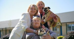 Pier Wall, Sharon Wall and sister sister Jules with pets Marley and Rocky. Photograph Nick Bradshaw