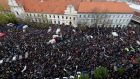 Demonstrators take part in an anti-corruption rally in Bratislava, Slovakia, on Tuesday. Photograph: David W Cerny/Reuters