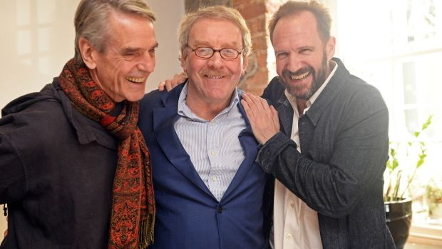 Michael Colgan celebrates his last day as director of the Gate Theatre with actors Jeremy Irons and Ralph Fiennes. Photograph: Eric Luke