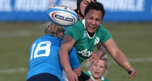Sophie Spence during her comeback for Ireland against Italy in the Six Nations. Photograph: Giuseppe Fama/Inpho