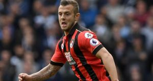 Bournemouth's on-loan Arsenal midfielder Jack Wilshere is out for the rest of the season after suffering a hairline fracture of his left fibula. Photograph: PA