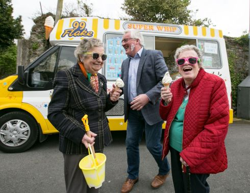 CONE HEADS: Bernie O'Leary and Pauline Fleming meet Pat Spillane at the launch of the Active Retirement Ireland Trade and Tourism Show 2017, in Co Kerry. Photograph: Brian Gavin/Press 22