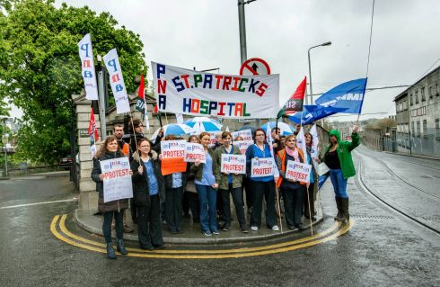 NURSES' PROTEST: Nurses protest outside St Patrick's hospital, Dublin. Photograph: Brenda Fitzsimons/The Irish Times