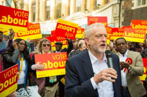 SNAP ELECTION: British Labour leader Jeremy Corbyn delivers a stump speech to party activists, in Croydon, London. Photograph: Dominic Lipinski/PA Wire