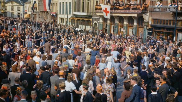 Dutch civilians dancing in the streets after the liberation of Eindhoven by Allied forces, September 1944. Photograph: Ted Dearberg/IWM/PA