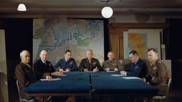 General Dwight D Eisenhower and his senior commanders at supreme allied headquarters in London, February 1944. Photograph: Ted Dearberg/IWM/PA