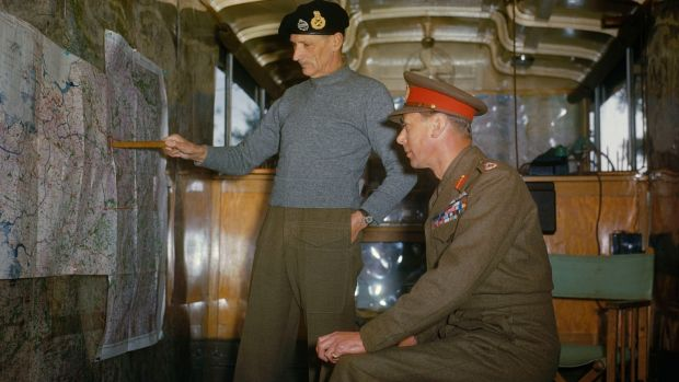 Field Marshal Sir Bernard Montgomery explaining Allied strategy to King George VI in his command caravan in Holland, October 1944. Photograph: Ted Dearberg/IWM/PA