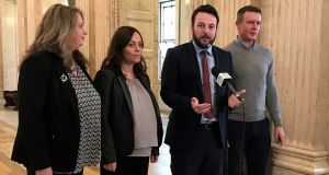 "SDLP leader Colum Eastwood (second right) said he was ""open to any discussion on how we can protect the Remain vote in Northern Ireland"". Photograph: Deborah McAleese/PA Wire"