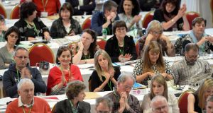 Delegates at the ASTI conference in Killarney: The meeting heard claims that the union lacked a clear strategy. Photograph: Don MacMonagle