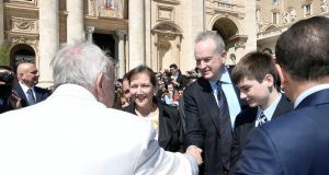 Television personality Bill O'Reilly shakes hands with Pope Francis on Wednesday at the Vatican. Photograph: Osservatore Romano/Reuters