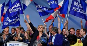 Front National leader Marine Le Pen acknowledges the cheers of supporters at her final campaign rally, in Marseille, ahead of Sunday's first-round vote in the French presidential election. Photograph: Jeff J Mitchell/Getty Images