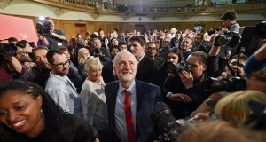 Labour Party leader Jeremy Corbyn looks up following his first speech of the British general election campaign on Thursday. Photograph: Andy Rain/EPA