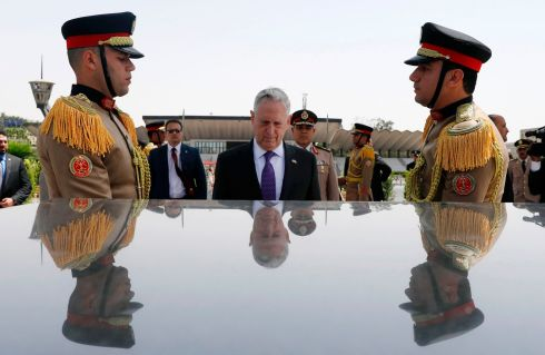 CAIRO VISIT: US defence secretary James Mattis places a wreath at the Unknown Soldier memorial in Cairo, Egypt. Photograph: Jonathan Ernst/AFP/Getty Images