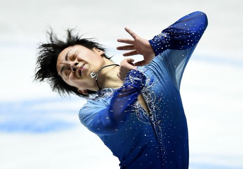 LONE FIGURE: Japan's Shoma Uno performs in a singles event at the ISU World Team Trophy figure-skating competition, in Tokyo. Photograph: Toru Yamanaka/AFP/Getty Images