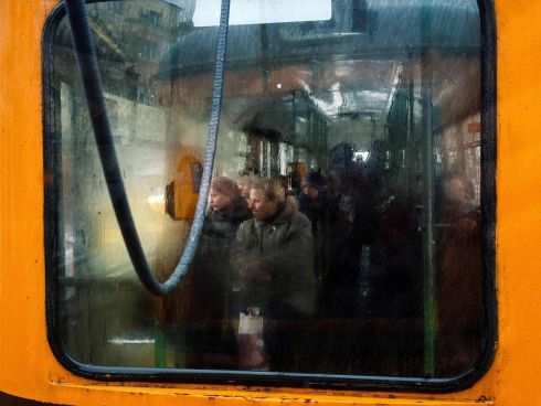 SOFIA SNAPSHOT: Commuters take a tram during a cold and wet day in Sofia, Bulgaria. Photograph: Dimitar Dilkoff/AFP/Getty Images