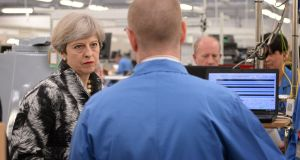 British prime minister Theresa May during a visit to radar manufacturer Kelvin Hughes Limited in Enfield, north London. Photograph: Stefan Rousseau/PA Wire