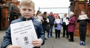 Aidan Magee (6) from Dublin protesting outside McKee Barracks in Dublin. Photograph: Sam Boal/Rollingnews.ie