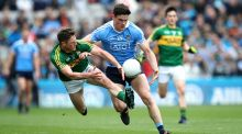 Dublin's Diarmuid Connolly and Jonathan Lyne of Kerry in action in the Allianz Football League Division One final. Photograph: Ryan Byrne/Inpho