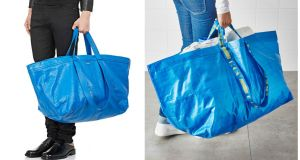 The Balenciaga Carry Shopper bag (left) which costs €1,695 and the Ikea Frakta bag (right) which retails at 70 cent in Ireland. Photographs: Balenciaga, Ikea