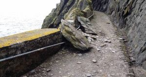 A significant rockfall at Skellig Michael.  Photograph: Office of Public Works