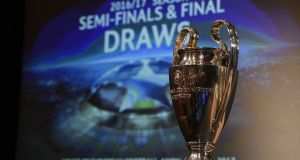 The Uefa Champions league trophy is displayed ahead of the draw for the competition's semi-finals on Friday. Photograph: Getty Images