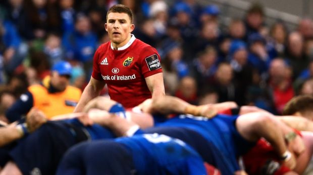 Munster's Andrew Conway facing his old club Leinster at the Aviva Stadium last year. Photograph: James Crombie/Inpho