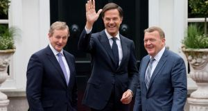 Taoiseach Enda Kenny with Danish prime minister Lars Lokke Rasmussen, (right) and Dutch prime minister Mark Rutte in The Hague. Photograph: Peter Dejong/AP