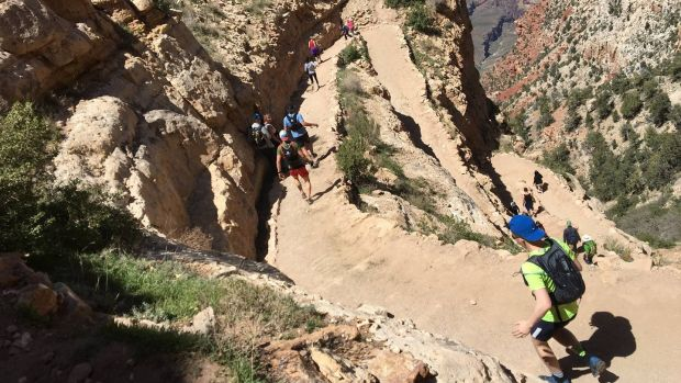 Brendan O'Neill, in the blue cap, taking part in the Grand Canyon race last weekend.
