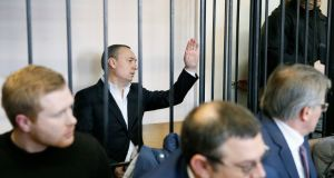 Former Ukrainian member of parliament Mykola Martynenko,  under investigation for suspected embezzlement, speaks at a court  in Kiev on Friday. Photograph: Valentyn Ogirenko/Reuters